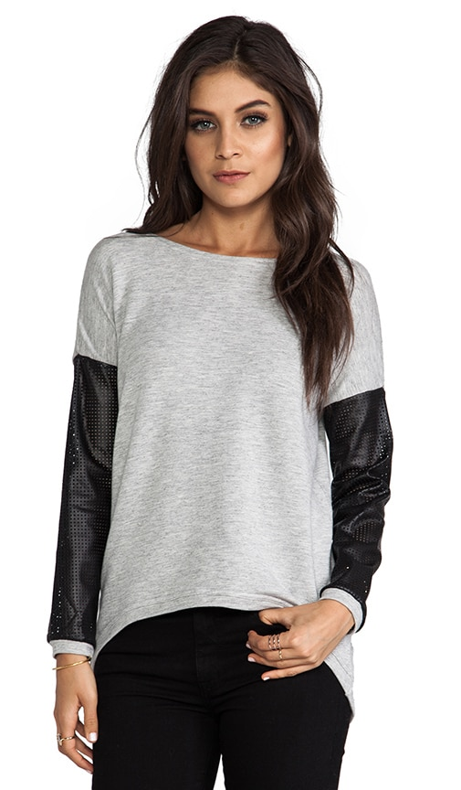Bobo Perforated Leather Sleeve Sweater