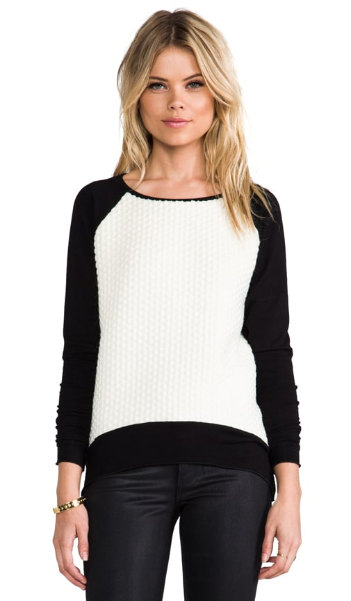 Emma White Combo Popcorn Sweater
