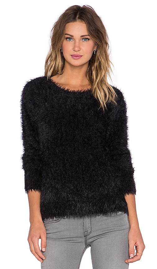 Generation Love Carly Feather Knit Sweater in Black