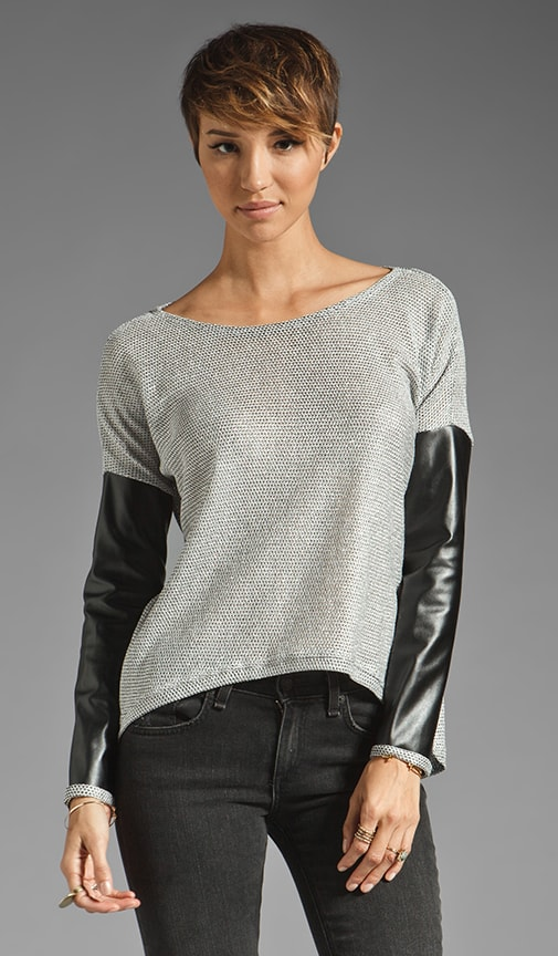 Bobo Metallic Leather Sleeve Combo Sweater