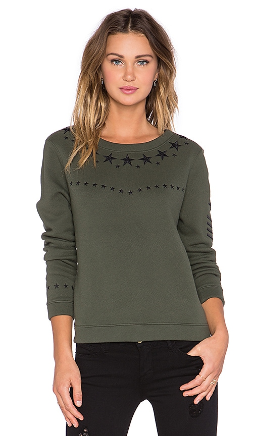 Generation Love Cara Army Embellished Sweatshirt in Army & Black
