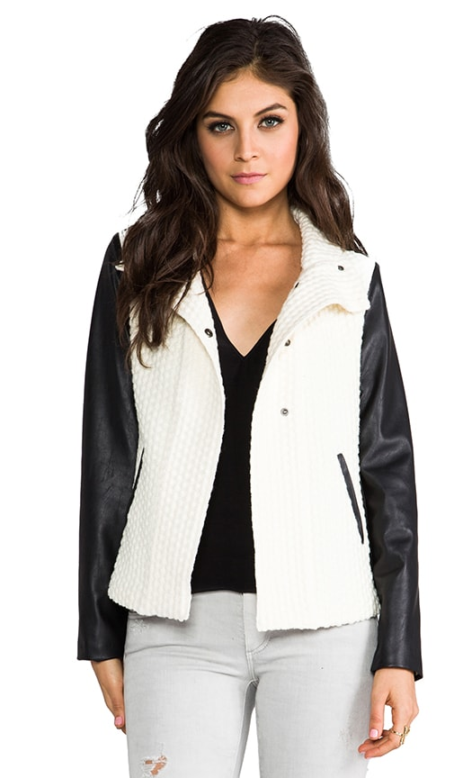 Yoko Leather Sleeve Popcorn Jacket