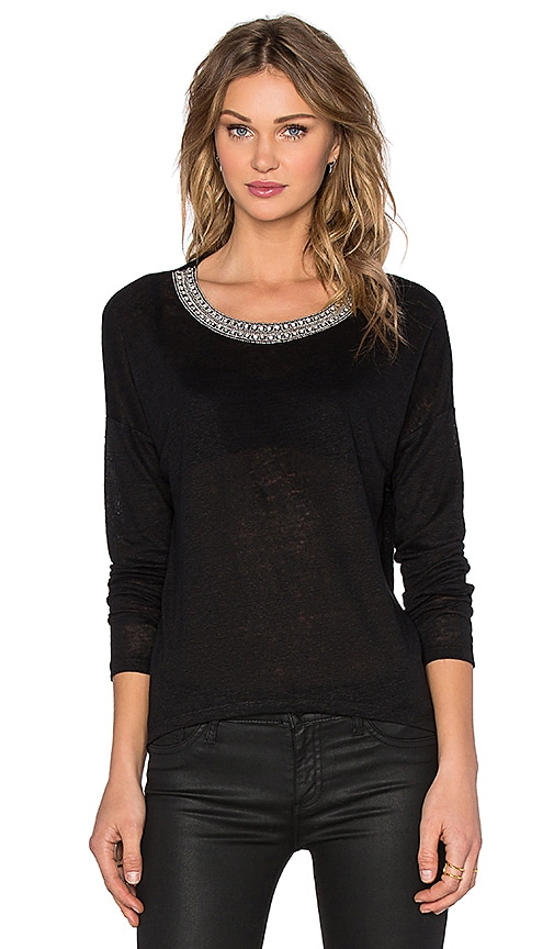 Generation Love Jeni Crystal Long Sleeve Top in Black