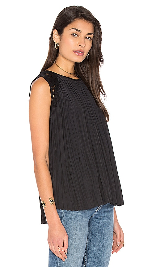 Generation Love Jane Pleats Tank in Black