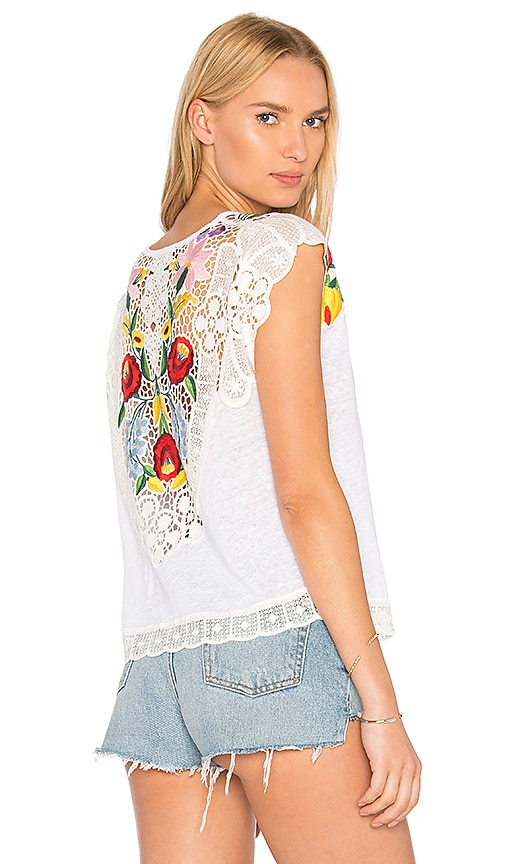Generation Love Maria Embroidered Tee in White