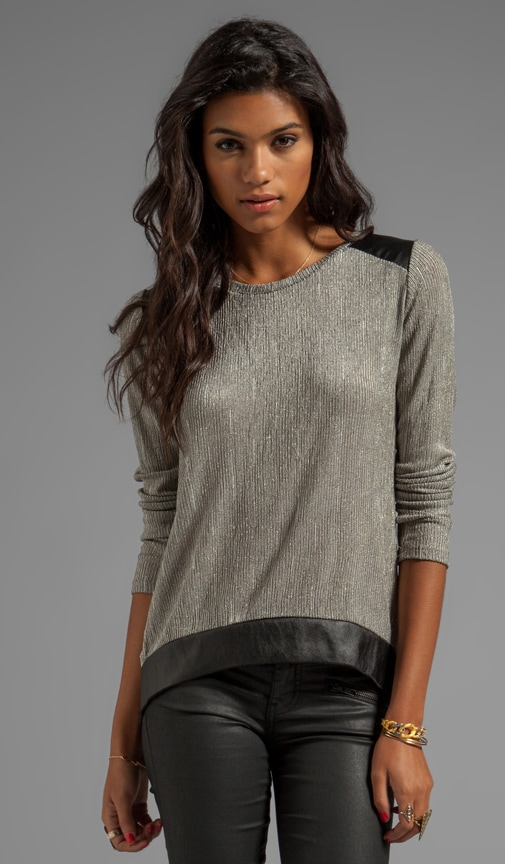 Atticus Metal Leather Patch Long Sleeve Top
