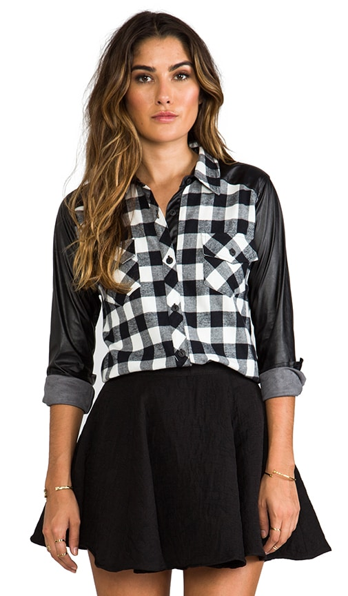 Olga Leather Sleeve Plaid Top