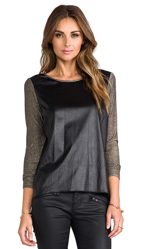Phoenix Lurex Leather Long Sleeve Tee