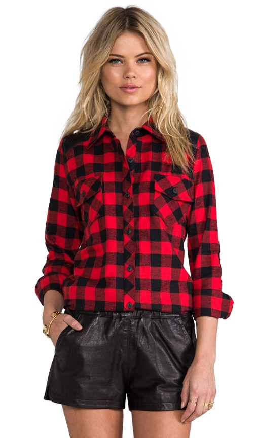 Olga Perforated Plaid Combo Top