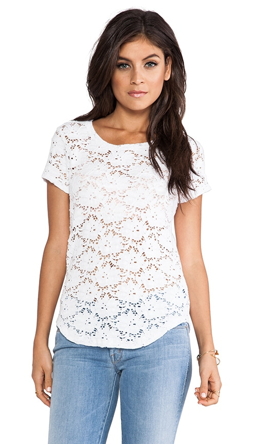 Solange Curved Hem Lace Short Sleeve