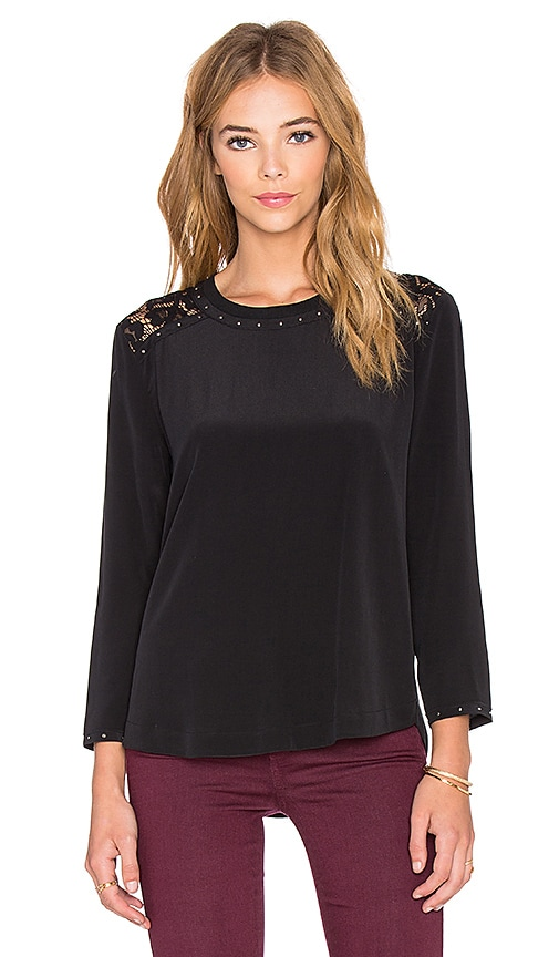 Generation Love Artie Stud Long Sleeve Top in Black