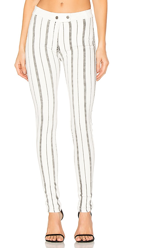 GM STUDIO The Striped Riding Skinny in Stoned White