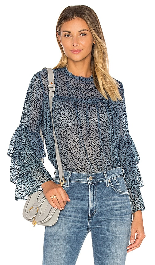 GM STUDIO The Bell Sleeve Blouse in Blue