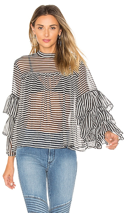 GM STUDIO The Bell Sleeve Blouse in Black & White