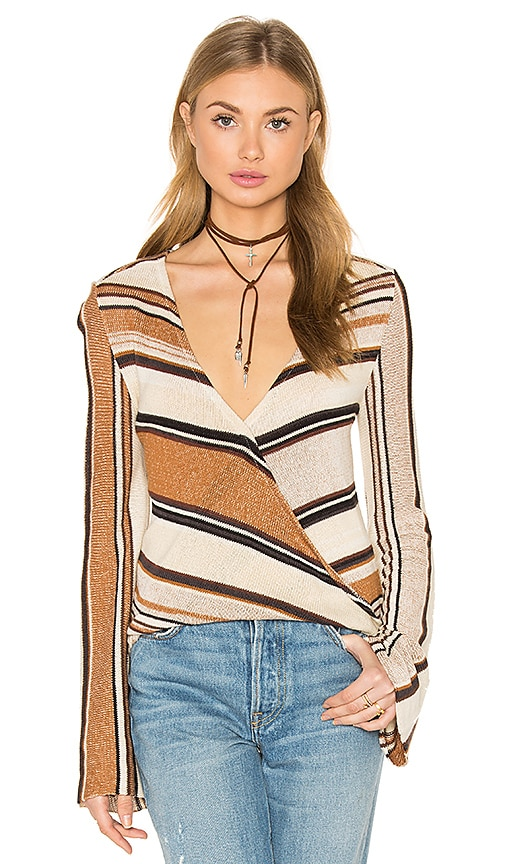Goddis Cecilia V Neck Sweater in Beige