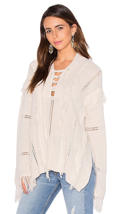 Goddis Ryley Lace Up Sweater in Cream