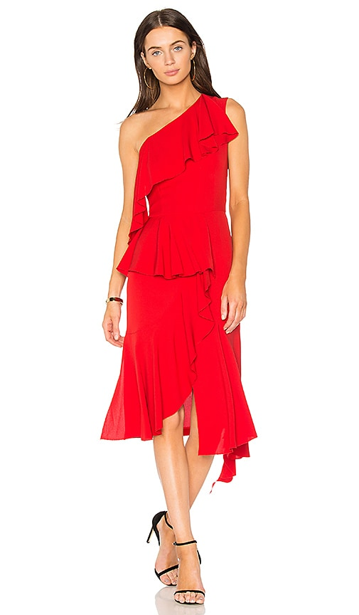 GOEN.J One Shoulder Asymmetrical Dress in Red