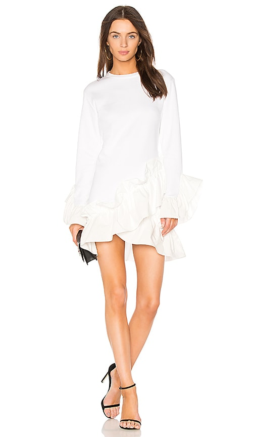 GOEN.J Poplin Ruffle Mini Dress in Ivory