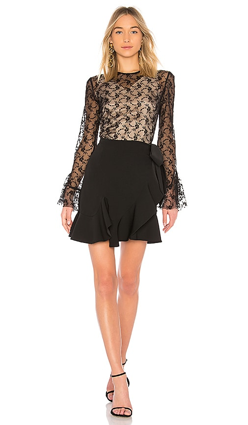 GOEN.J Lace Long Sleeve Dress in Black