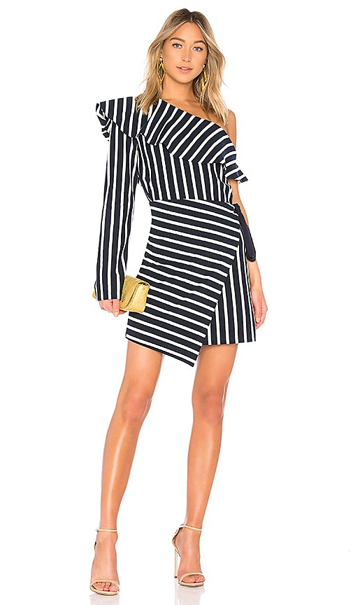 GOEN.J One Shoulder Striped Dress in Navy