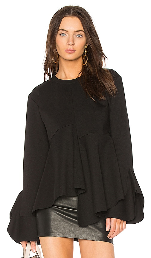 GOEN.J Ruffle Sweater in Black