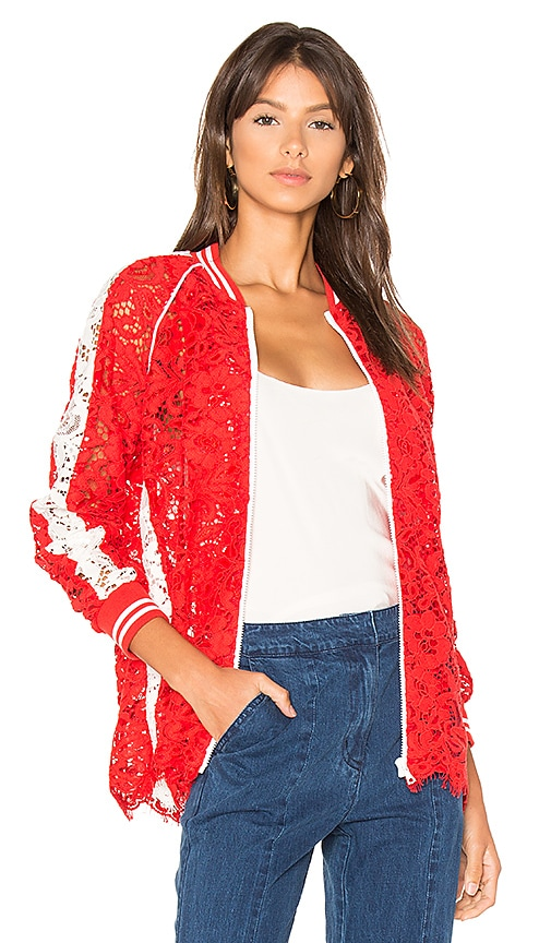 GOEN.J Lace Bomber Jacket in Red