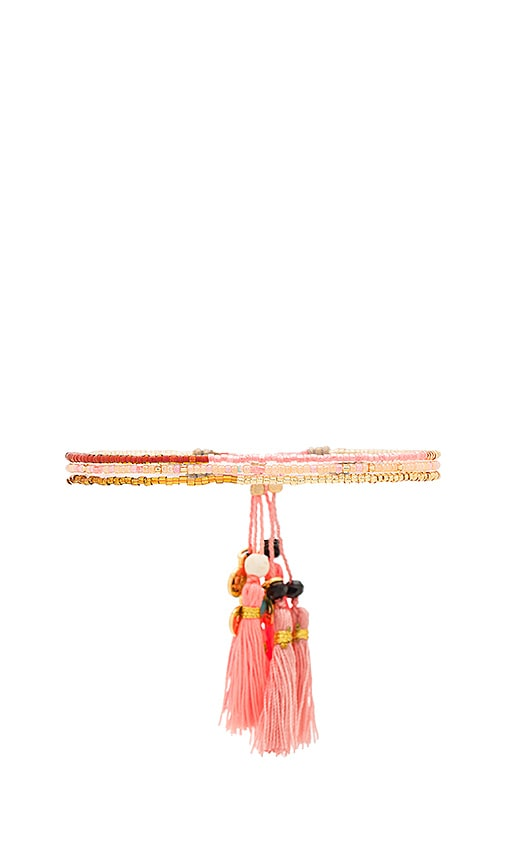 gorjana Playa Beaded Bracelet Set in Coral