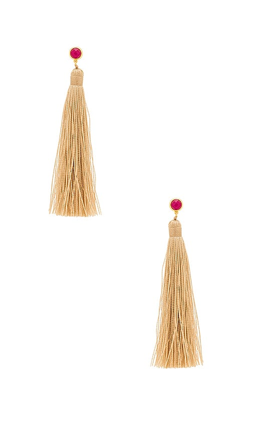 gorjana Tulum Tassel Earrings in Beige