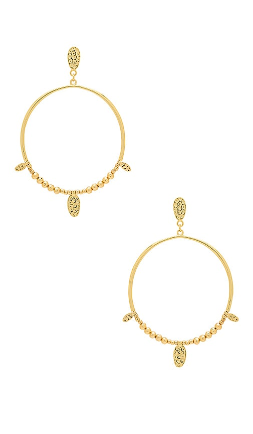 gorjana Leucadia Beaded Drop Hoop in Metallic Gold