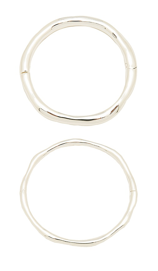 gorjana Quinn Hinged Bangle Set in Metallic Silver