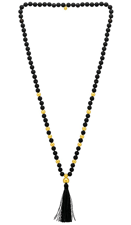 gorjana Hannah Druzy Tassel Long Necklace in Black
