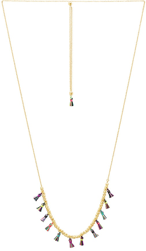 gorjana Havana Tassel Adjustable Necklace in Metallic Gold