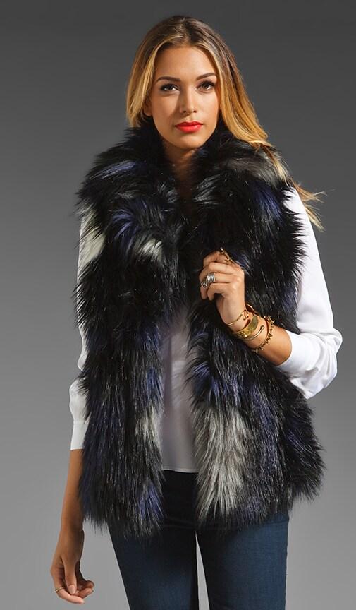 Ikat Faux Fur Vest