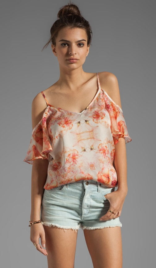 Flora Georgette Cold Shoulder Top