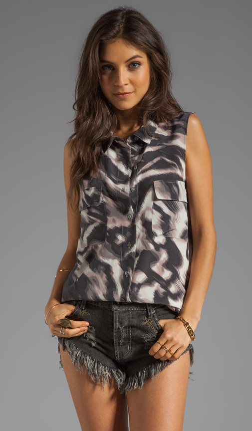 Abstract Zebra Print Sleeveless Button Down