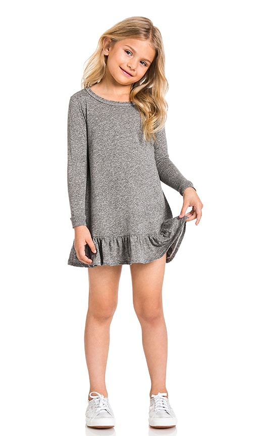 The Great The Little Drop Ruffle Dress in Heather Grey