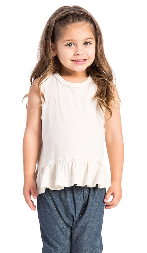 The Great The Little Sleeveless Ruffle Tee in Cream