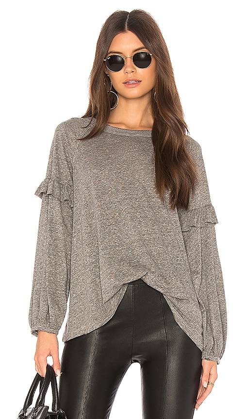 The Great The Raglan Ruffle Tee in Gray