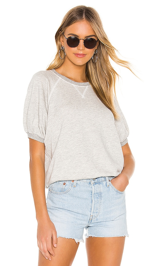 16c49cbbdfd01 The Great Puff Short Sleeve Sweatshirt in Heather Grey | REVOLVE