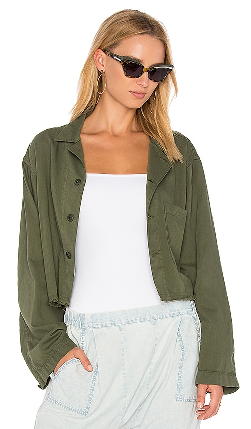 The Great The Cropped Army Jacket in Green
