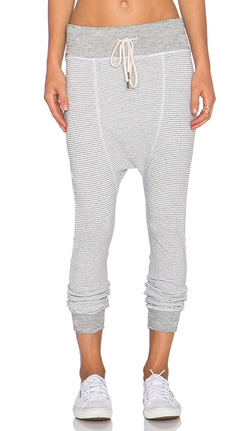 The Great The Gym Pant in Grey & White Mini Stripe