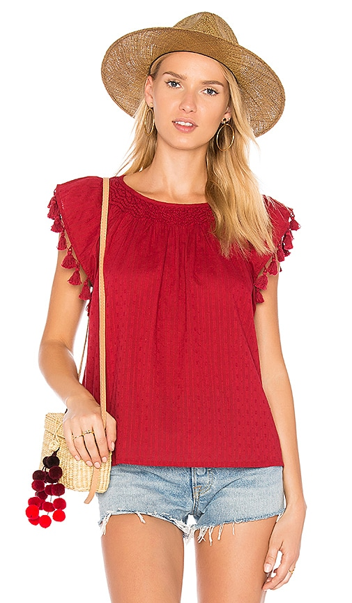 The Great The Tassel Flutter Top in Red