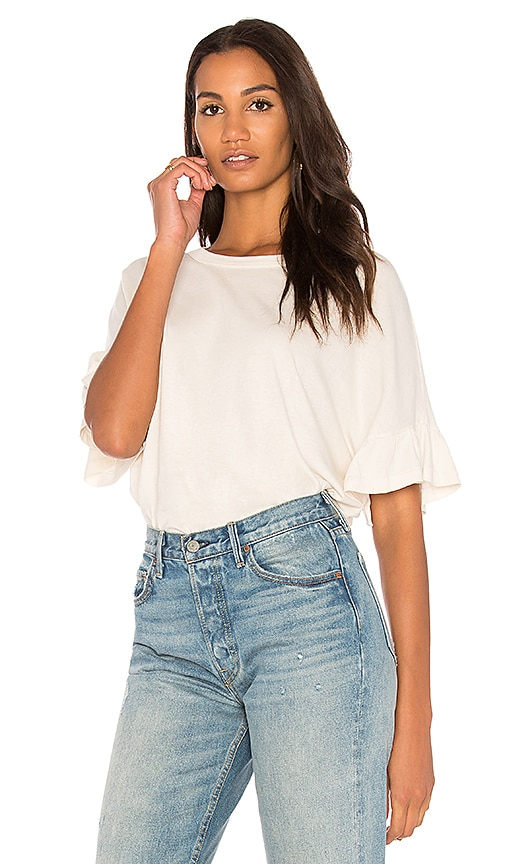The Great The Ruffle Sleeve Tee in White