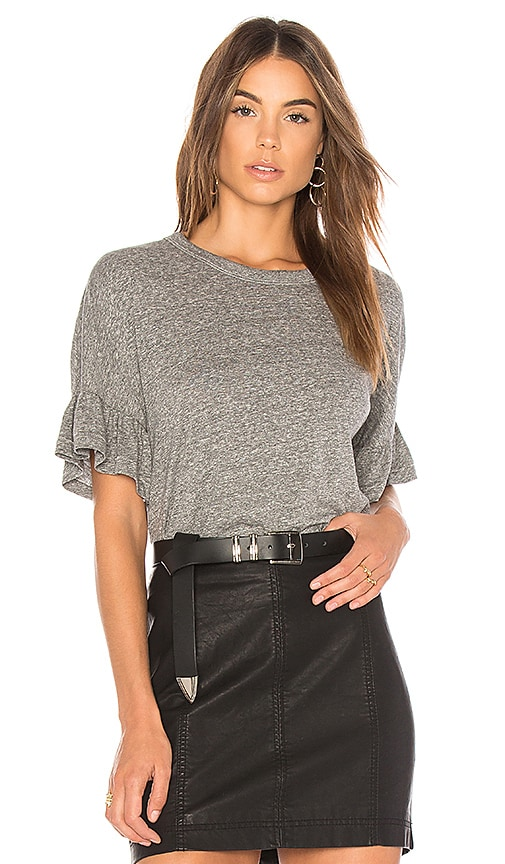 The Great The Ruffle Sleeve Tee in Gray