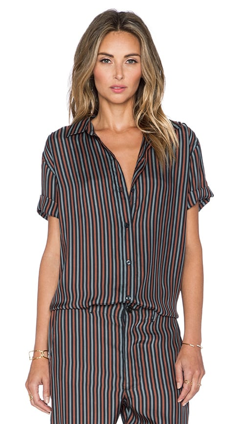 The Great The Short Sleeve Century Top in Tie Stripe