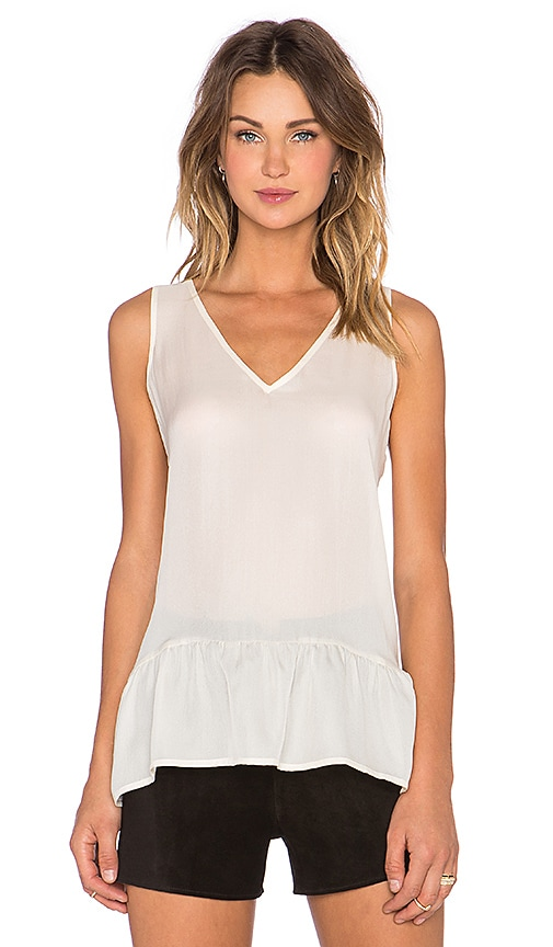 The Great The V Neck Flounce Tank in Cream