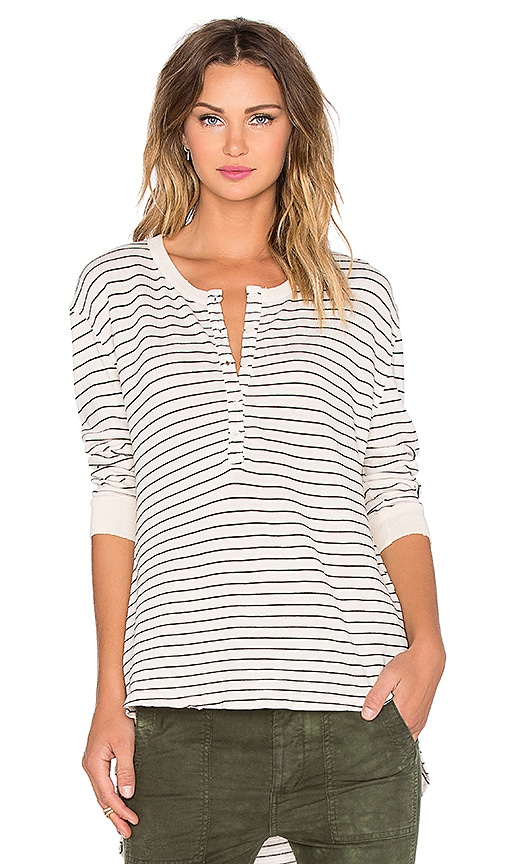 The Great The Shirtail Henley Tee in Cream Stocking Stripe