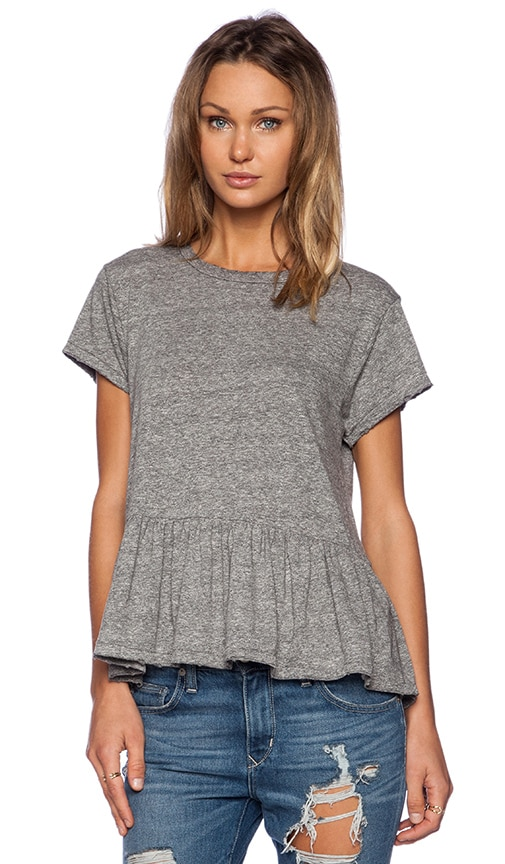 The Great The Ruffle Tee in Heather Grey