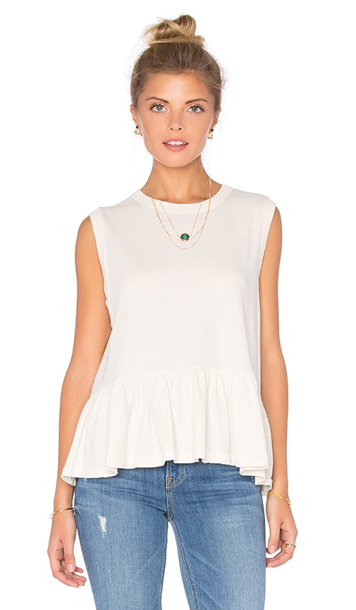The Great Sleeveless Ruffle Tee in Washed White