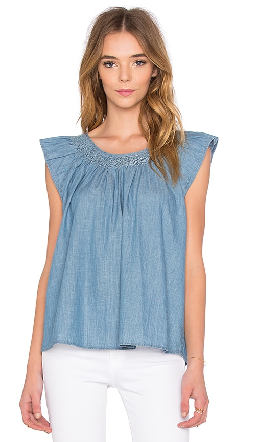The Great Fultter Sleeve top in Sky Wash